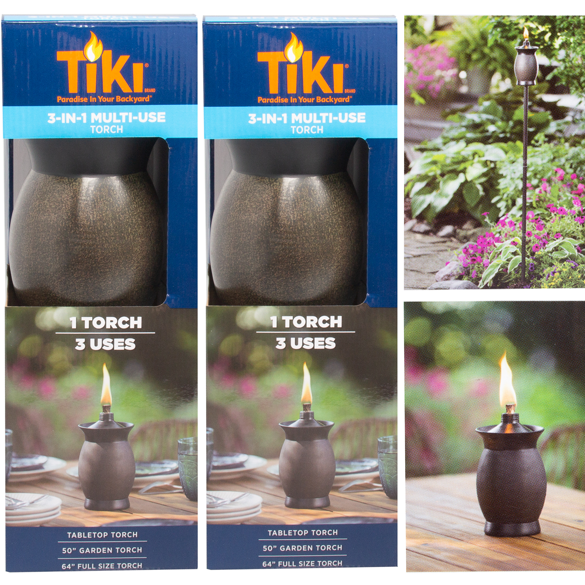 3-in-1 Tiki Torches 8 Inch Outdoor Table Lamp 50 Inch Garden Torch 64 Inch Yard Lamp Post Light Tropical Decor For Patio