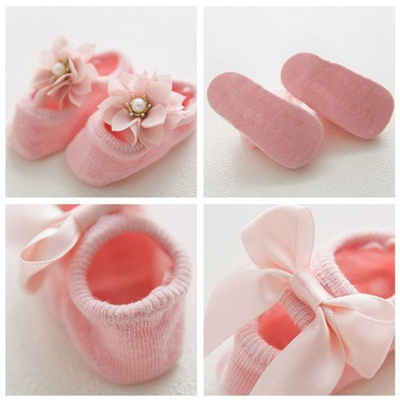 Baby-Girls Bow Tie Lace Socks Newborn/Infant/Toddler/Little Girls Socks - image 5 de 8