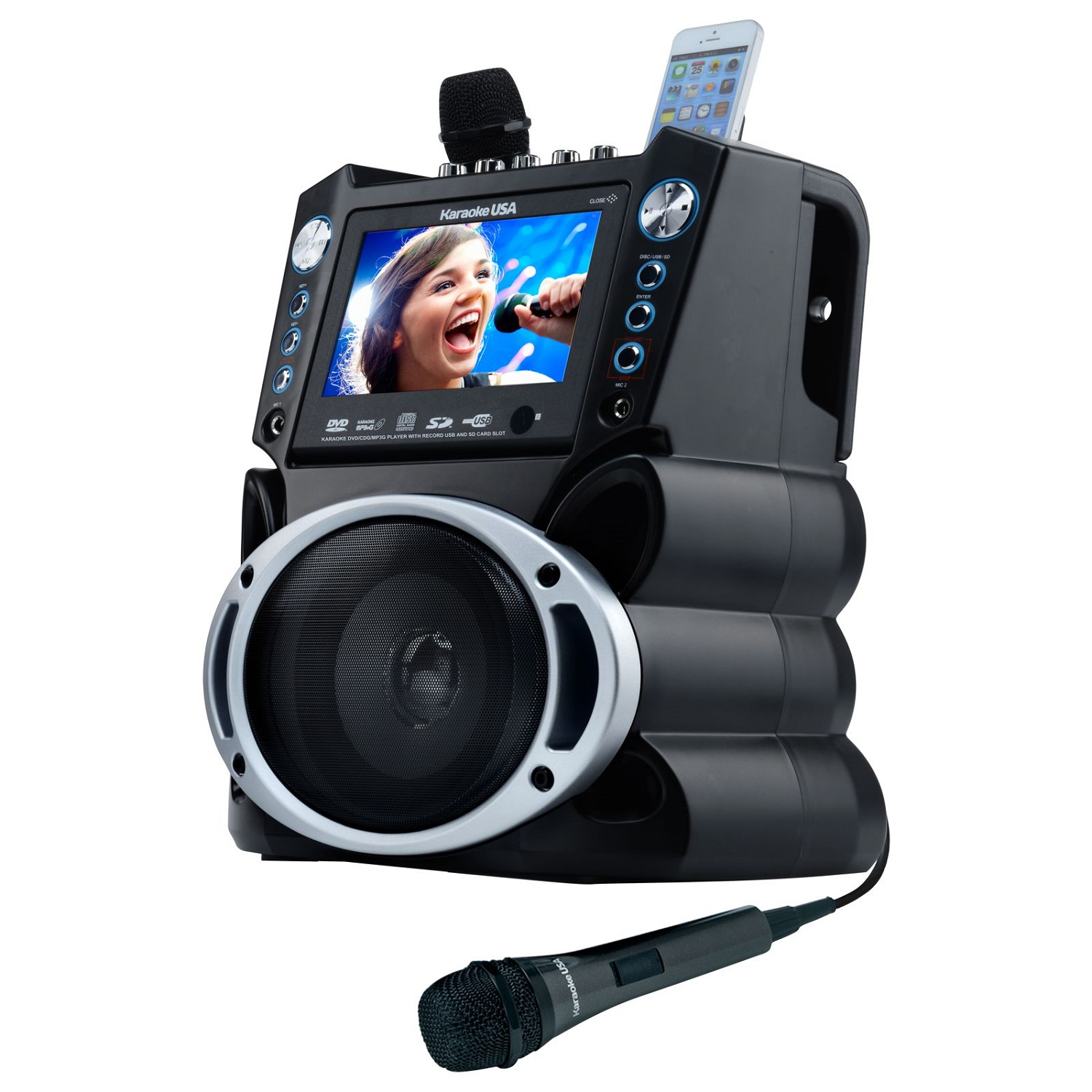 "Karaoke USA GF839 DVD/CDG/MP3G Karaoke Machine with 7"" TFT Color Screen and Record Function"