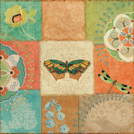 Folk Floral IV Center Butterfly Stretched Canvas - Daphne Brissonnet (24 x 24)