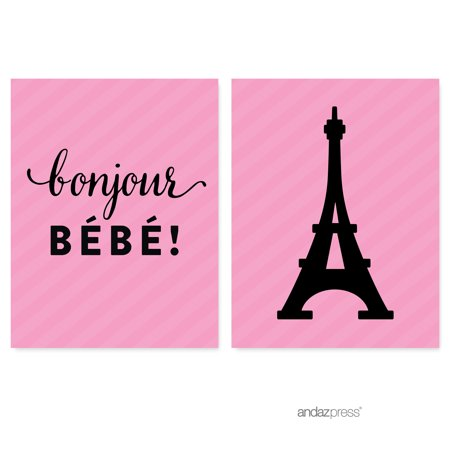 Paris Bonjour Bebe Girl Baby Shower Party Signs & Banner Decorations, - Paris Decorations