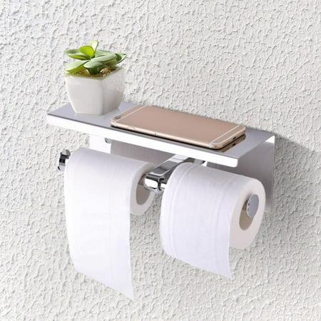 TOPINCN Stainless Steel toilet paper holder,toilet paper holder ,Wall Mounted SUS 304 Stainless Steel Double Roll Toilet Paper Holder, Dual Paper Tissue Roll