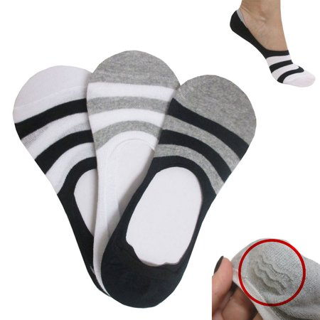 3 Pairs No Show Liner Socks Nonslip Grip Cotton Loafer Invisible Womens Men (No Show Socks That Don T Slip)