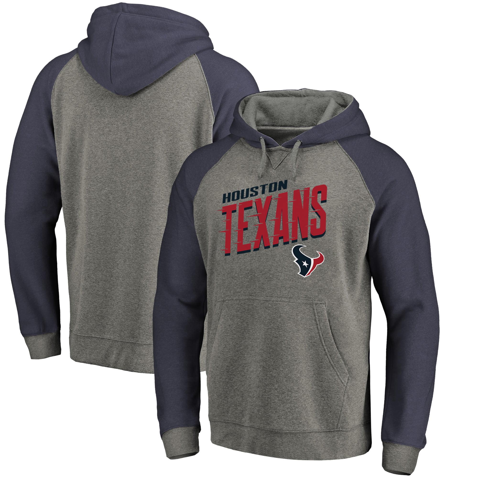 Houston Texans NFL Pro Line by Fanatics Branded Slant Strike Tri-Blend Raglan Pullover Hoodie - Heathered Gray