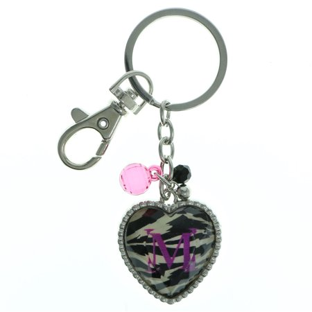 Silver-Tone Heart Shaped Initial Letter M Split-Ring-Keychain