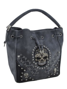 Product Image Embroidered Skull Concealed Carry Drawstring Handbag With Sched Details
