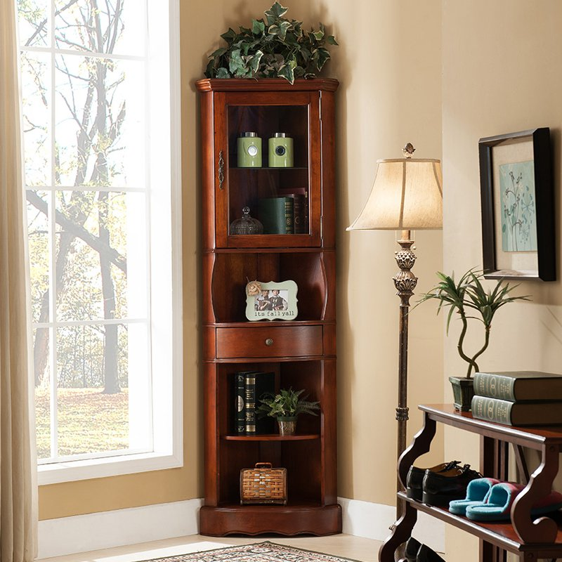 Corner Lighted Curio Cabinet, Golden Oak (Box 1 of 2) - Walmart.com