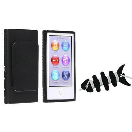Insten Black TPU Cover Case w/Belt Clip+Headset Smart Wrap For Apple iPod Nano 7 7th Gen