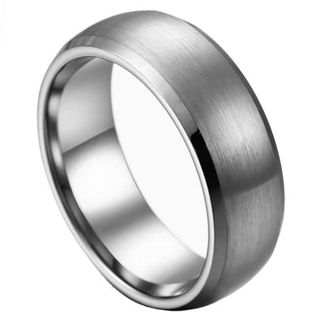 TK Rings 007TR-8mmx13.0 8 mm Brushed Center Low Beveled Edge Tungsten Ring - Size 13 - image 1 of 1