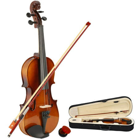 New 1/2 Acoustic Violin for Kids Boys Girls, Solid Wood Violin Acoustic Starter Kit with Violin Fiddle Case, Bow, Rosin, Brown Violin Outfit Set for Beginners Students