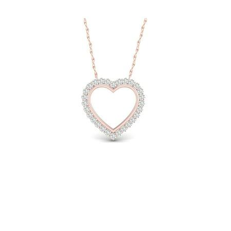 1/4Ct TDW Diamond 10K Rose Gold Open Heart Frame Necklace (I-J, I2)