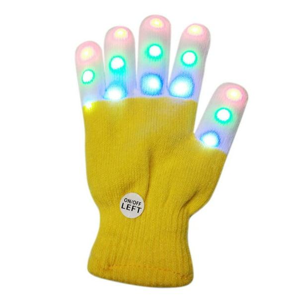 Unisex 7 Modes LED Rave Light Finger Lighting Flash Light Up Gloves Glow in Dark