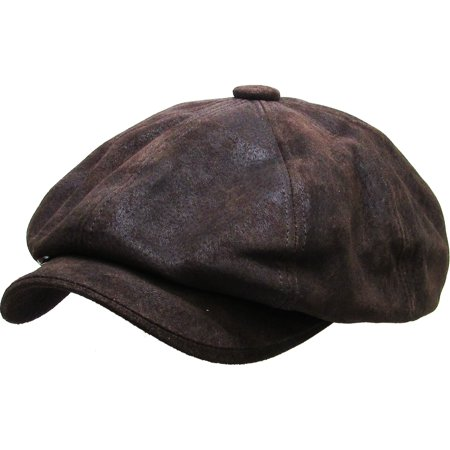 Leather Newsboy Hat (100% Genuine Leather Dark Brown Mens Ivy Hat Golf Driving Ascot Flat Cabbie)