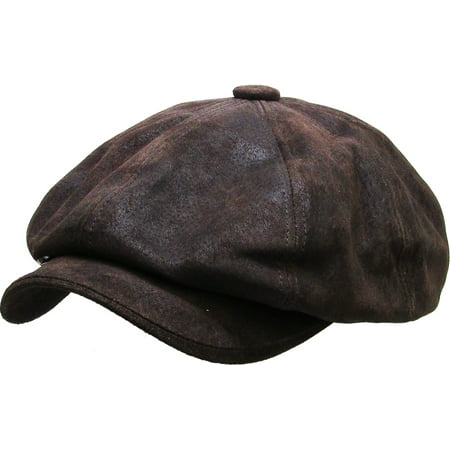 100% Genuine Leather Dark Brown Mens Ivy Hat Golf Driving Ascot Flat Cabbie Newsboy