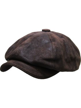 size 40 13208 4d31e Product Image 100% Genuine Leather Dark Brown Mens Ivy Hat Golf Driving  Ascot Flat Cabbie Newsboy