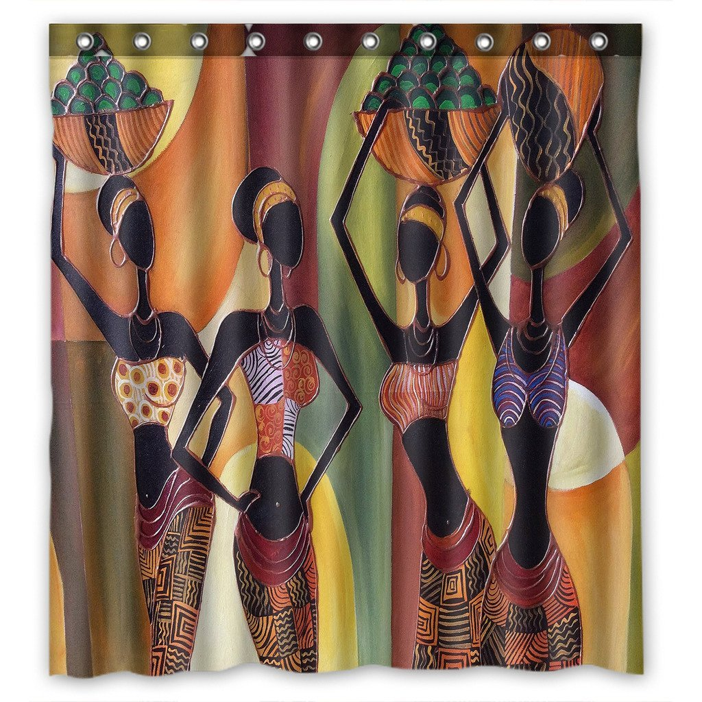 GCKG African Women Bathroom Shower Curtain, Shower Rings Included Polyester Waterproof Shower Curtain 48x72 Inches - image 4 de 4