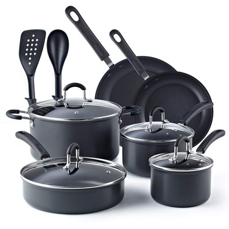 - Cook N Home 12-Piece Nonstick Hard Anodized Cookware Set, Black