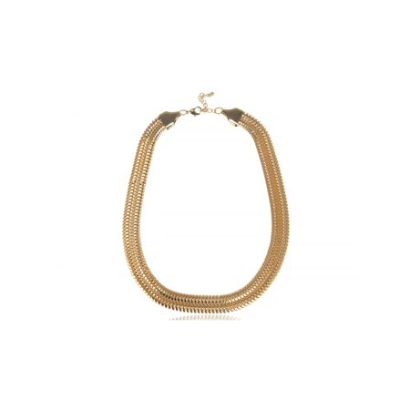Golden Metal Tone Linked Hollow Double Chain Adjustable Fashion Necklace (Base Metal Gold Tone Chain)