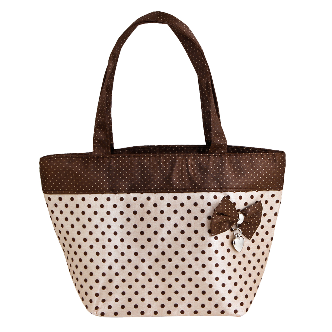 Beige Brown Bowknot Detail Zip up Polyester Shopping Bag Handbag