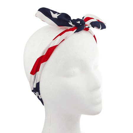 Lux Accessories American Fourth Of July American Flag Bow Headwrap Headband