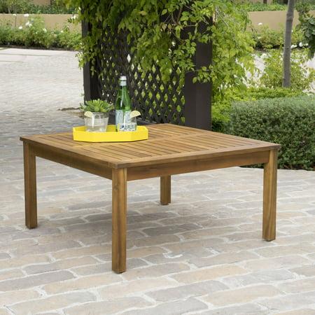 Hermosa Outdoor Acacia Wood Coffee Table, Teak Finished Teak Round Coffee Table