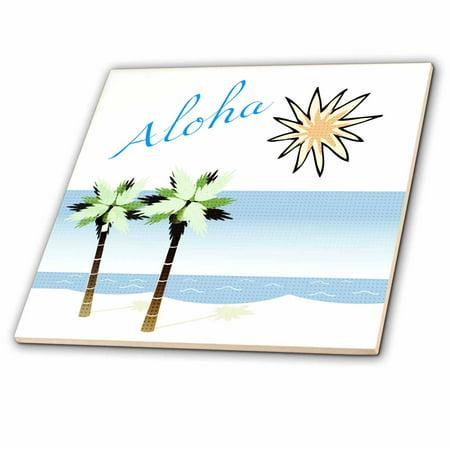 - 3dRose Aloha Hawaiian Beach Art - Travel - Ocean and Palm Trees - Ceramic Tile, 4-inch
