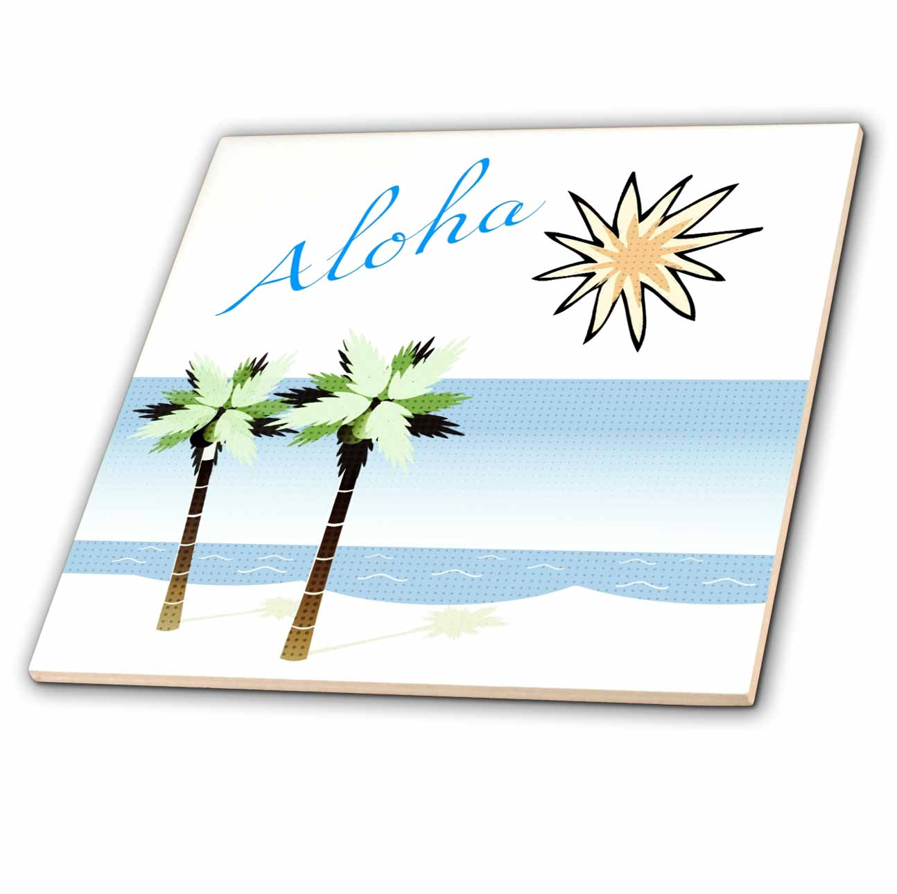 3dRose Aloha Hawaiian Beach Art - Travel - Ocean and Palm Trees - Ceramic Tile, 4-inch