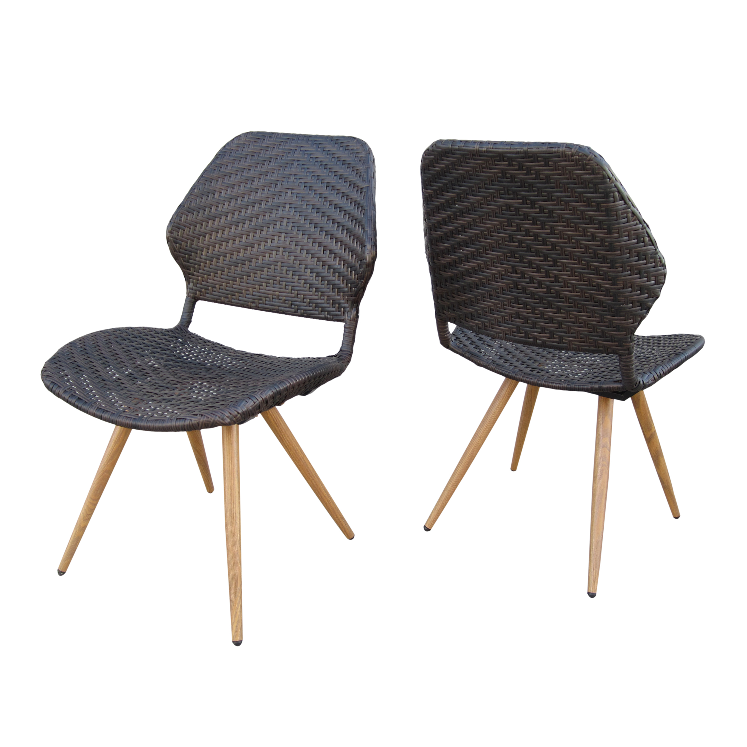 Amaya Outdoor Wicker Dining Chairs with Metal Legs, Set of 2, Multibrown and Brown Wood Finish