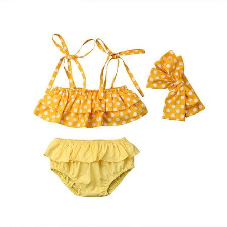 3PCs Baby Girl Swimsuit Polka Dot Off Shoulder Tube Top Ruffle Pleated Bottom Bowknot Bikini Tankini Bathing Suit