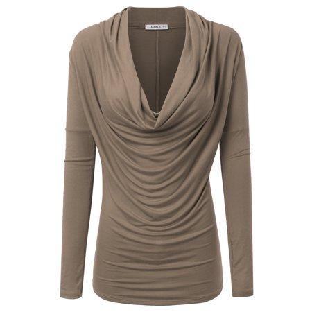 e1cfb7d23e529a Doublju - Doublju Womens Cowl Neck Long Sleeve Blouse Top With Plus Size  MOCHA 3XL - Walmart.com
