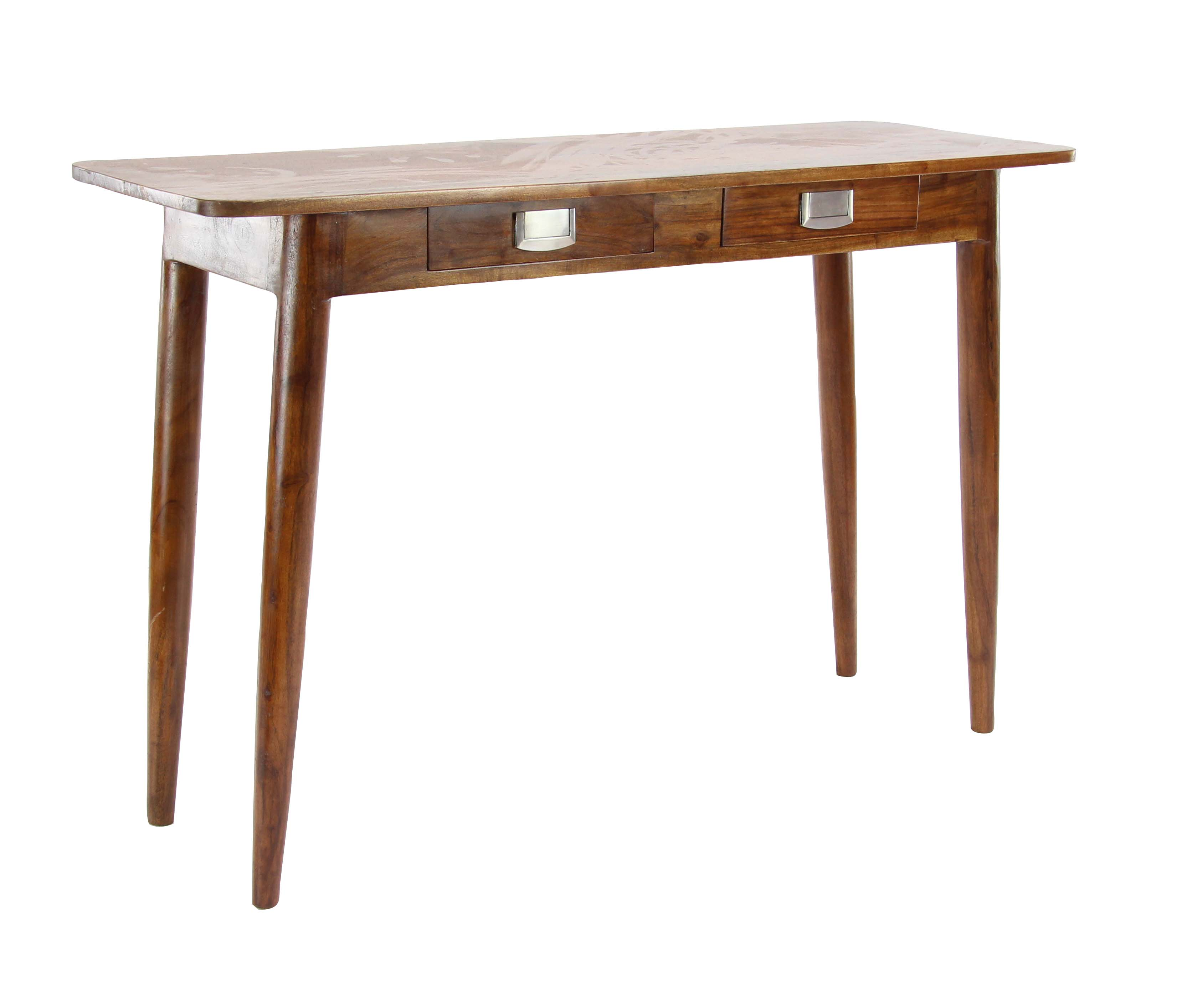 Decmode Modern Kanaloa Wood Stained Brown Console Table With Drawers,  Natural Brown