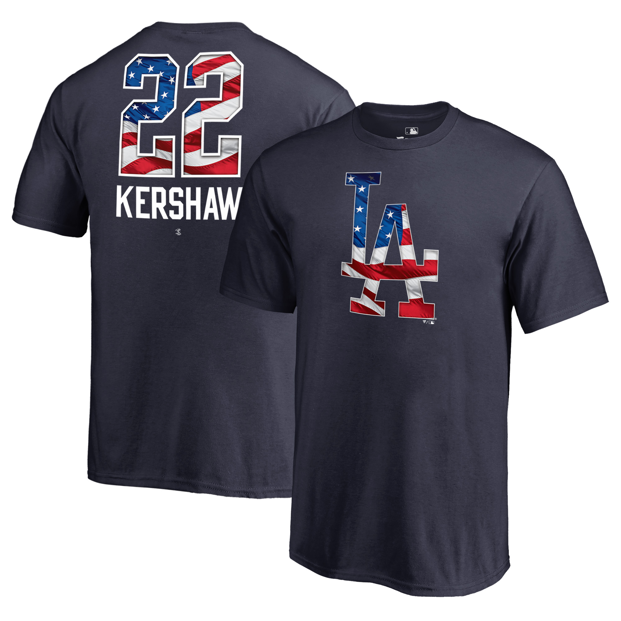 Clayton Kershaw Los Angeles Dodgers Fanatics Branded Youth 2018 Memorial Day Banner Wave Player T-Shirt - Navy