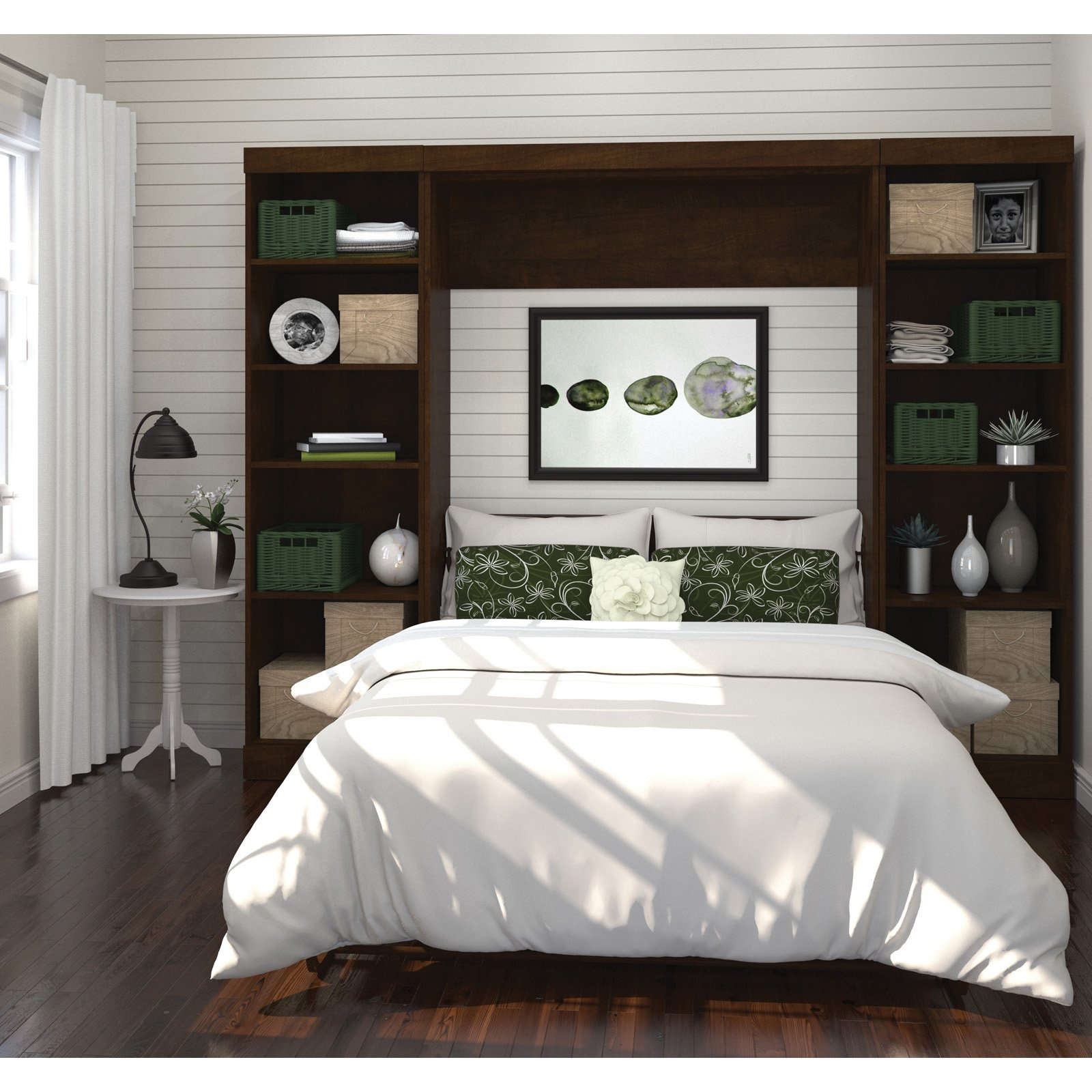 """Pur By Bestar 109"""" Full Wall Bed Kit With Two 25"""" Storage"""