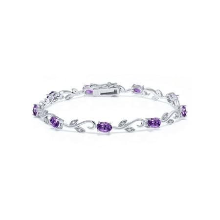 3.28 Ct Oval Purple Amethyst White Diamond 925 Sterling Silver Bracelet