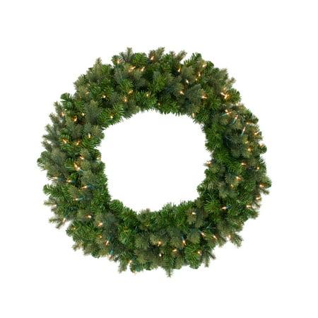 Pre-Lit Savannah Spruce Artificial Christmas Wreath - 36-Inch, Clear Lights