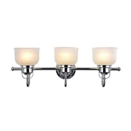 25 in. Lighting Ironclad Industrial-Style 3 Light Chrome Bath Vanity Wall Fixture White Frosted Prismatic Glass - Chrome ()