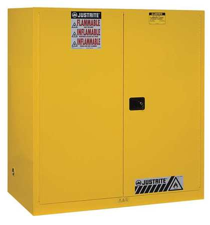 Flammable Safety Cabinet, 110 gal., Yellow JUSTRITE 899120