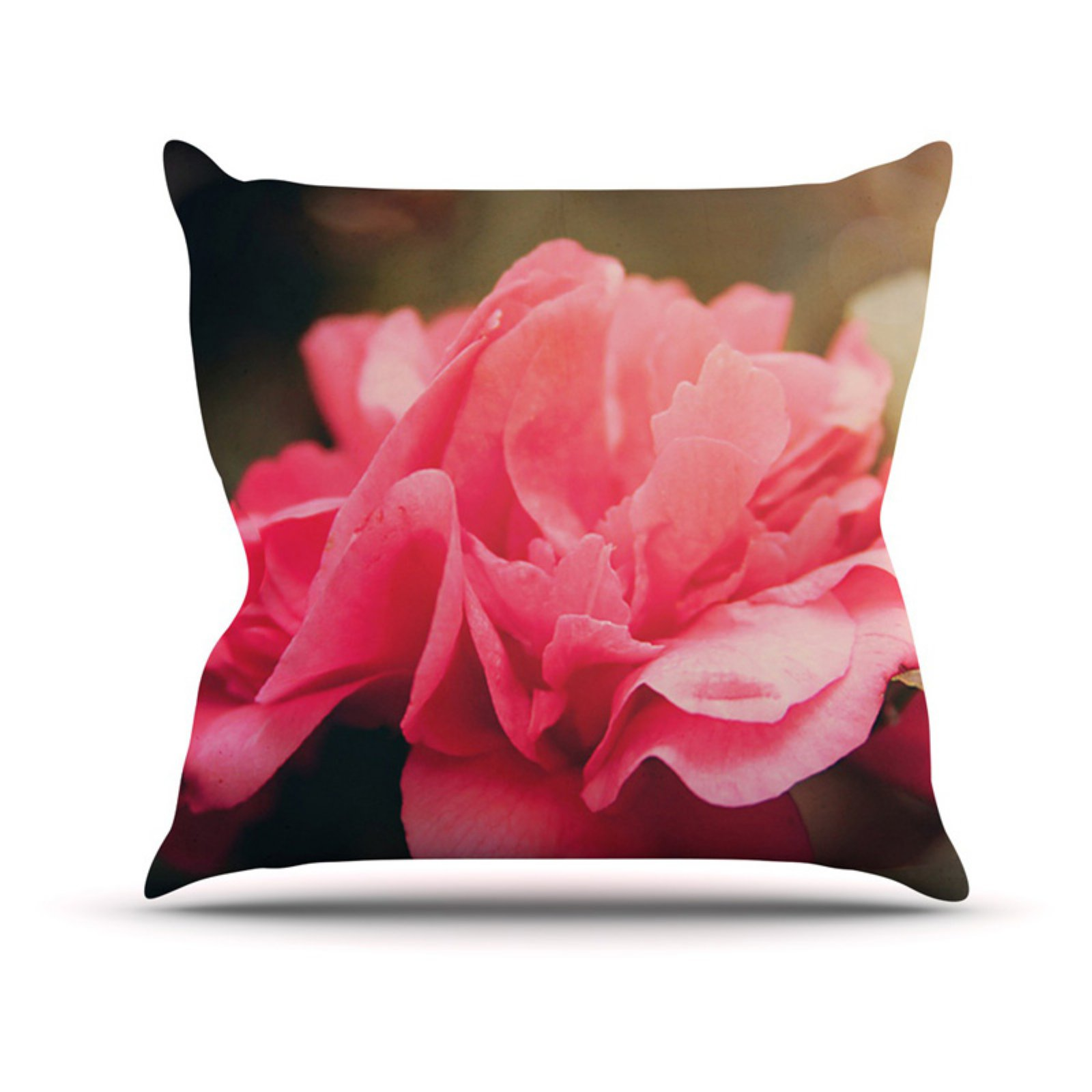 Kess InHouse Angie Turner Camelia Pink Flower Indoor/Outdoor Throw Pillow