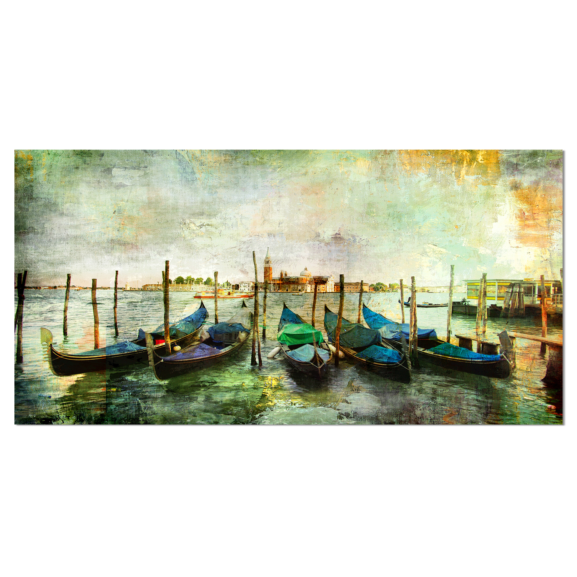 Venetian Gondolas - Landscape Painting Canvas Print - image 1 of 3