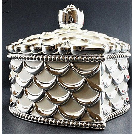 Vintage Design Treasure Jewelry Box Valentine Heart Shape White Silver Organizer KT00044