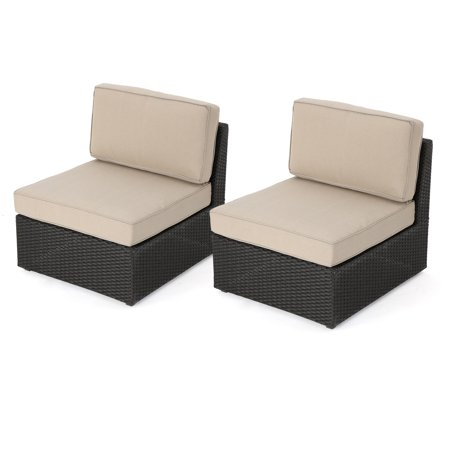 (Sabrina Outdoor Dark Brown Wicker Armless Sectional Sofa Seat with Water Resistant Cushions, Set of 2, Beige)