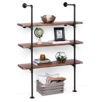 Best Choice Products 4-Tier Industrial Wall-Mounted Iron Pipe Bracket Bookshelf Frame, Customizable DIY Shelving