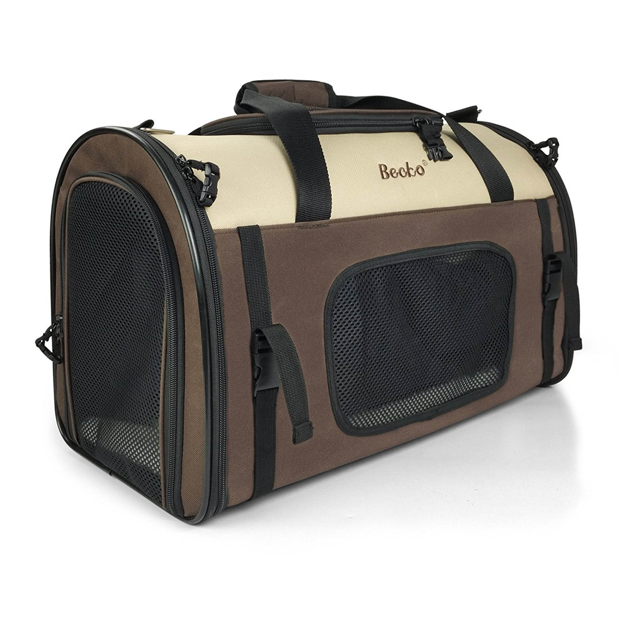 Becko Brown & Beige Expandable Pet Carrier with Padding
