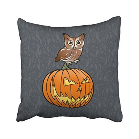 WinHome Vintage Halloween Owl Stand On Pumpkin Paisley Print Pattern Polyester 18 x 18 Inch Square Throw Pillow Covers With Hidden Zipper Home Sofa Cushion Decorative Pillowcases - Owl Halloween Pumpkin Patterns