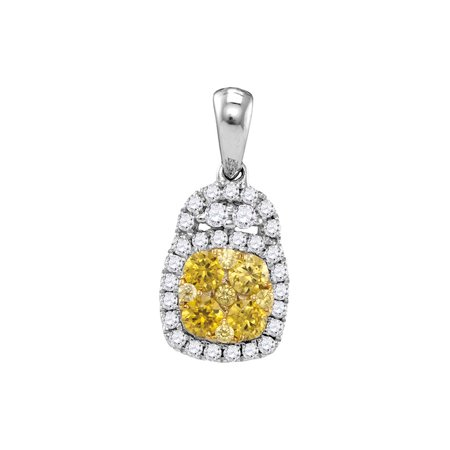 14kt White Gold Womens Round Yellow Diamond Cluster Pendant 3/4 Cttw - image 1 of 1