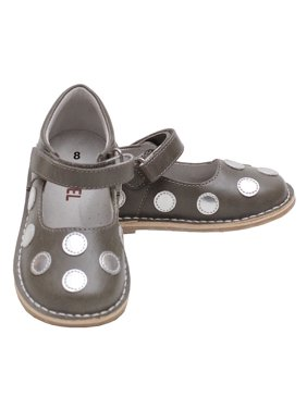 Grey Silver Dot Strap Mary Jane Shoe Toddler Girl 5-10