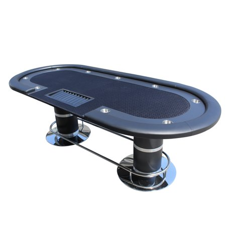IDS Professional Texas Hold'em Poker Table 10 Players With Wooden Racetrack Cup Holders Plastic Chip Trays - 96