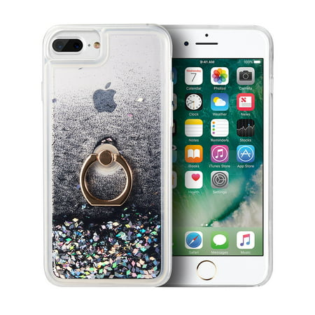 Black Sparkle Faceplate - Apple iPhone 7 Plus /8 Plus /6S Plus /6 Plus Phone Case Hybrid Glitter Bling Sparkling Liquid Quicksand Sparkle TPU Rubber Hard PC Back + Ring Holder Kickstand Cover BLACK for iPhone 8/7/6/6s PLUS