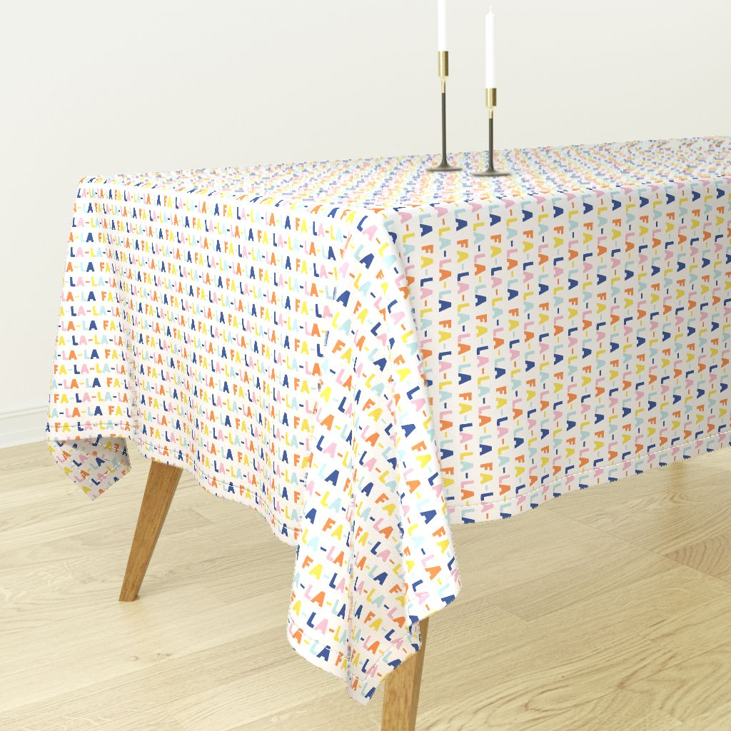 Ordinaire Tablecloth Holiday Fa La La La Multi Colored Christmas Fun Cute Cotton  Sateen   Walmart.com