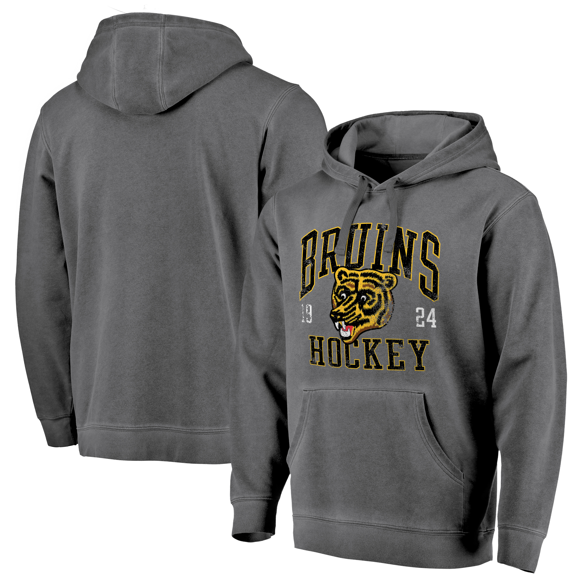 Boston Bruins Fanatics Branded Vintage Collection Old Favorite Shadow Washed Pullover Hoodie - Black